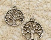 Antique Silver Encircled Branched Tree Earrings