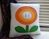 RESERVED for Dan A. - Small Super Mario Fireflower Pillow