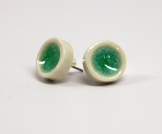 Ceramic Post Earrings Turquoise Glass