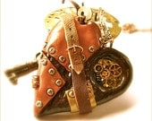 Steampunk Wind'R'Up Heart Pendant, Necklace