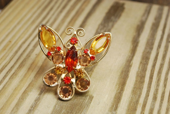 Vintage gold and amber rhinestone butterfly brooch