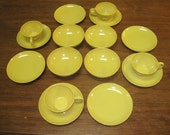 25 pieces of Yellow/Harvest Gold Melamine Melmac vintage