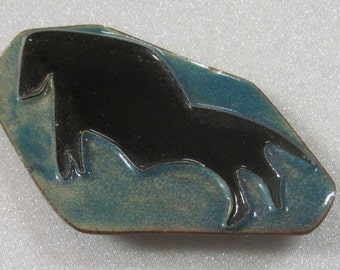 Vintage Enamal over copper brooch Native American looking Buffalo or Horse