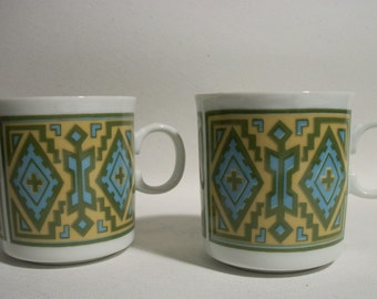 Vintage Ceramic Geometric Mugs in Blue and Green