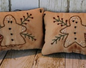"Handmade Primitive Set of  2 Gingerbread Christmas Pillow Hanger Tuck Ornie Ornament Embroidery Country Rustic ""Free Shipping"""
