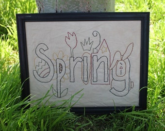 Primitive Spring Picture Handmade