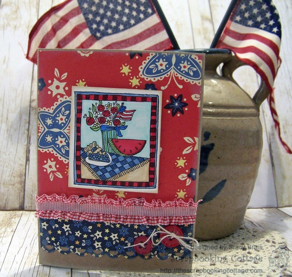 Handmade Summer Picnic, 4th of July, Red White Blue, Patriotic  card with envelope