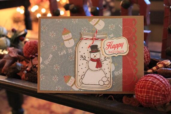 Christmas Card Happy Holidays Snowman in Jar Handmade