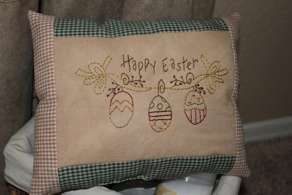 Handmade Primitive Happy Easter Spring Pillow Embroidery Country Hand Stitched Rustic Tea Stained Muslin Stitchery
