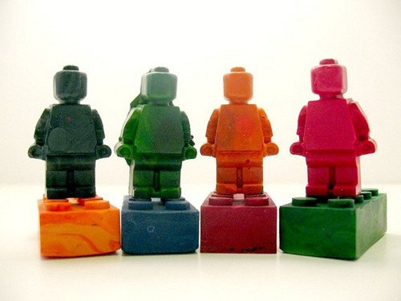 Recycled Crayon Legos and Men Set of 8
