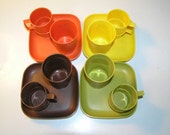 Vintage Tupperware Toy Dinnerware Set of 4 - 12 Pieces Total