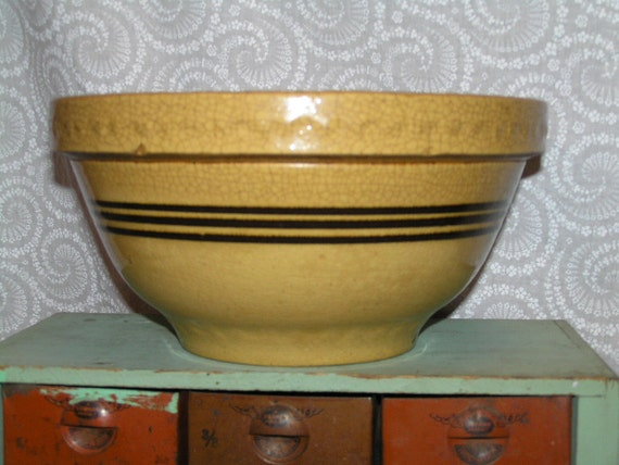 Yellow Ware Bowl with Brown Stripes - Primitive Mixing Bowl