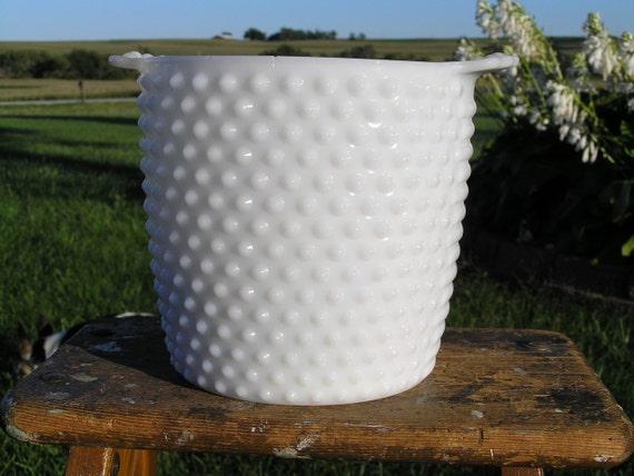 Vintage Hobnail Ice Bucket White or Large Vase for Fresh Flowers