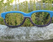 Repurposed Lensless Half And Half Sun Frames With Robin's Egg Blue Paint And Multi Colored Glitter Paint