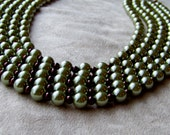 Chocolate and Olive Glass Pearl Necklace, green and brown glass pearls