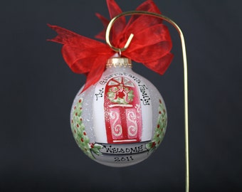 Hand Painted New Home Christmas Ornament - Personalized FREE