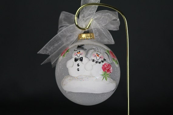 Handpainted Bride and Groom Snowman Ornament - Personalized FREE