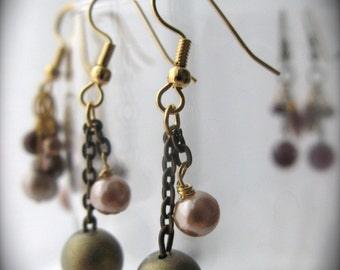 Modern Antique Earrings - Pink bronze and matte gold olive pearls - SALE