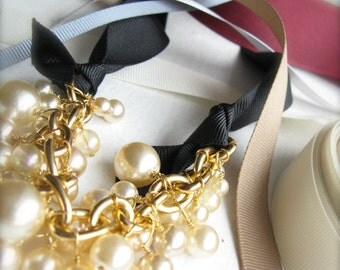 Chunky Pearl Interchangeable Ribbon Necklace