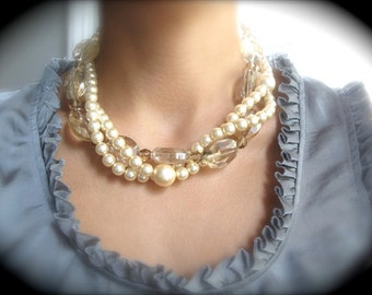 Pearl and Crystal Bridal Necklace