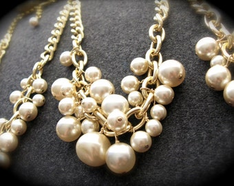 Ultra Chunky Pearl and Chain Bridesmaid Necklaces