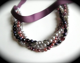 Ribbon and Pearl multi-strand necklace, earring, bracelet sets - perfect for bridesmaids