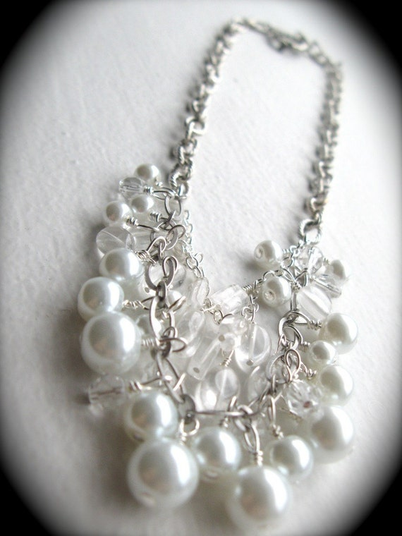Bridal Necklace - Crystal and Pearl - Antique Silver or Gold - Lavish - Design your own