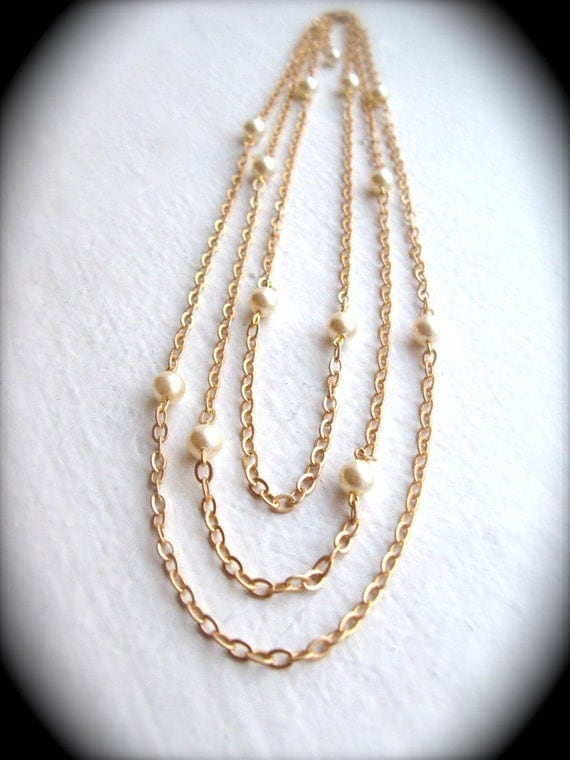Gold or Silver Necklace with Pearls