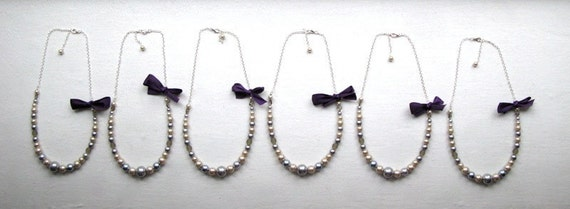 Purple Champagne Silver Bridesmaid Necklaces Any Colors