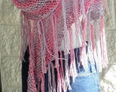 Triangle Fringed Scarf -Shawl - Wrap  in Rainbow Colors