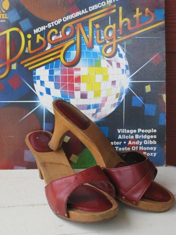 Vintage 1970s Platform Sandals Wooden Candies Style Slides