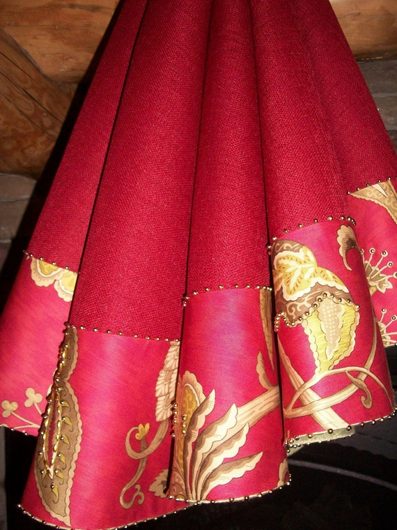 "Reserved for TheMarrows 56"" Hand Beaded Christmas Red Tree Skirt and Six Stockings"