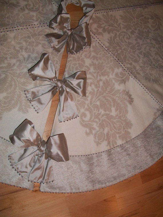 "Reserved for Cheryl Vaughn 56"" Anthropologie Inspired Silver Shimmering Velvet Christmas Tree Skirt 2012 Collection READY TO SHIP"
