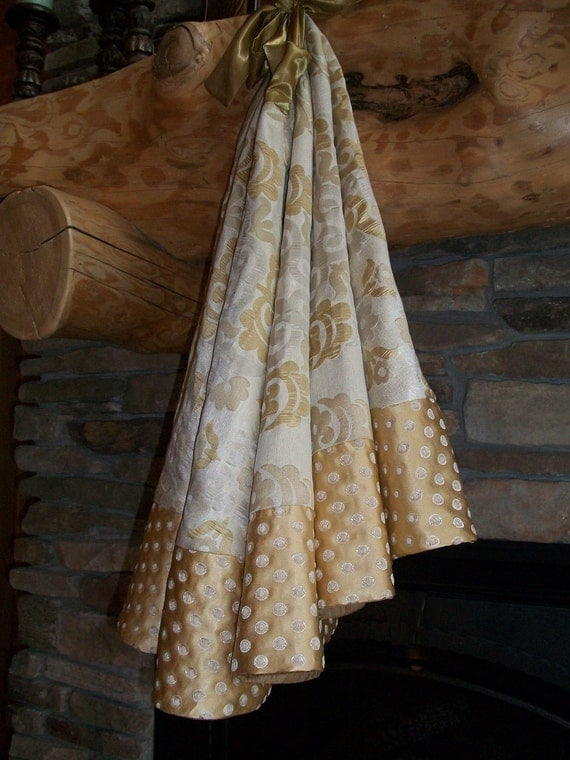 """Platnium, Metallic Gold and Silver 56"""" Christmas Tree Skirt 2012 Collection READY TO SHIP"""