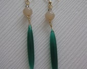 SALE Emerald Green Onyx and Tan Linear Earrings