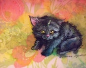 BabyUniKitty -- Original gouache painting on vintage fabric