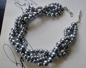 Charcoal Chunky Pearl Twist -4 Strand- Charcoal Pearl Twisted Statement Necklace