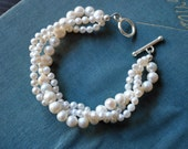 White Freshwater Pearl Twist Bracelet-made to order
