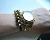 Brass Hex Nut Bracelet Brown Leather Cord