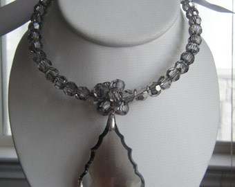 Charcoal Chandelier Crystal Drop Necklace