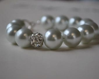 White Chunky Pearl Bracelet-made to order
