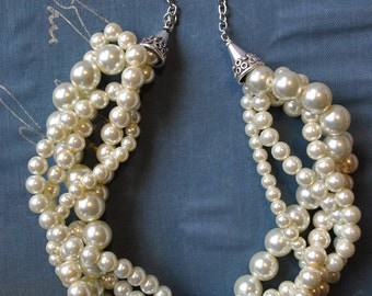 Ivory. Chunky Pearl Twisted Statement Necklace