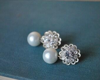 Rhinestone Pearl Drop Earring Studs