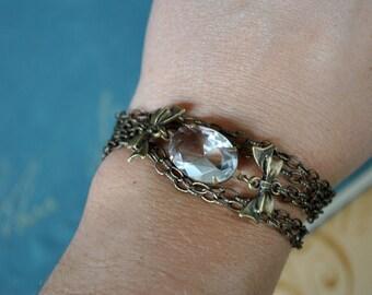 Vintage Glass Bow Tie Charm Bracelet