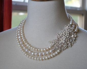 White Freshwater Pearl Statement Brooch Necklace-made to order