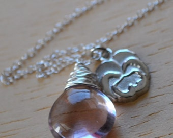 Sterling Silver Pink Amethyst with Pansy Flower Charm Necklace