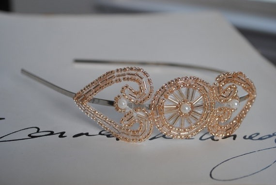 Champagne Beaded Emblem Headband