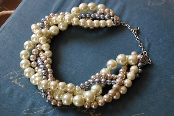 Chunky Pearl Twisted Statement Necklace-Champagne, Grey, Ivory