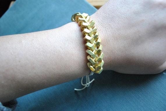 Brass Hex Nut Bracelet With White Cotton Cord