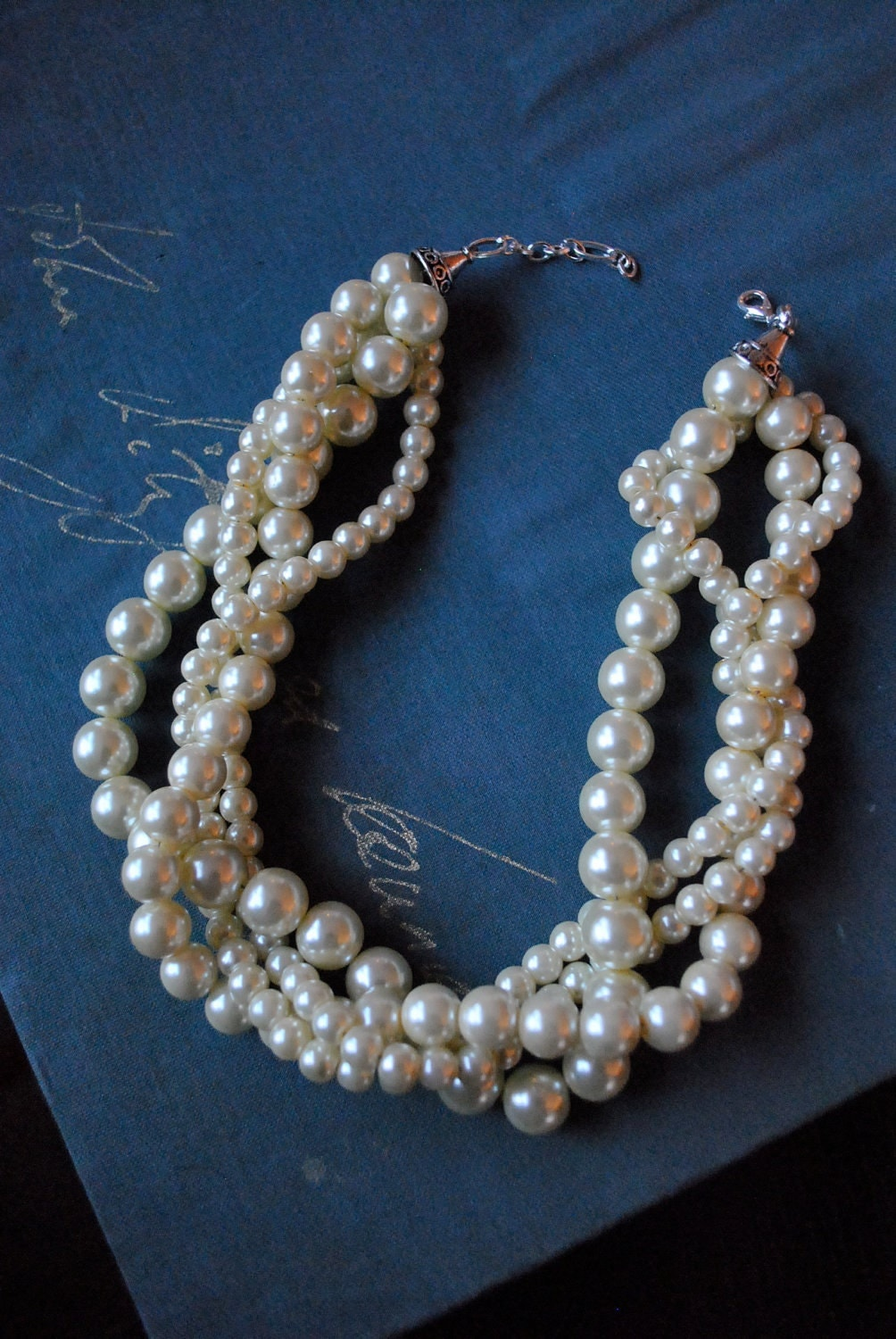 Ivory Chunky Pearl-4 Strand Twisted Statement Necklace